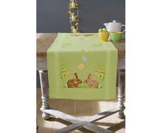 Vervaco PN-0156711 Läufer Kaninchen/Ostern Kreuzstichpackung Stickpackung enthält vorgedruckter Tischläufer, Garn, Nadel und Anleitung. 40 x 100 cm, Aida, Weiß, 40 x 100 x 0, 30 cm