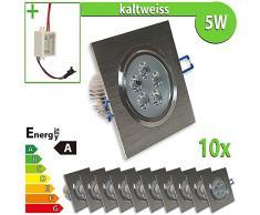 LEDVero 10x LED Einbaustrahler Einbauleuchte 5 W 10-er Set quadratisch, kaltweiss EBL31