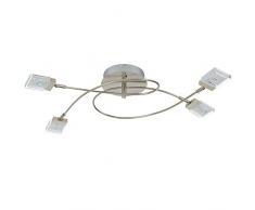 Briloner Leuchten 2530-042S A+, LED Deckenstrahler, Deckenleuchte, dimmbar, Farbsteuerung/Farbwechsel mit Fernbedienung 16 Farbprogrammen, Metall, 14.4 Watt, matt-nickel, 76.4 x 37.5 x 15.3 cm