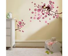 Pink Monkey Tree-WS3033 Niedlicher Schlafender AFFE Auf Baum Zweig Wand Sticker Kinderzimmer Dekoration