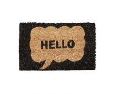 Relaxdays Fußmatte Kinder mit Bild Motiv Hello als Türvorleger klein für Kinderzimmer aus Kokos mit rutschfestem Boden aus Gummi Mini Fußabtretet und Türmatte HBT: 1,5 x 40 x 25 cm, Motiv: Hello