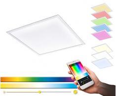 EGLO connect LED Deckenleuchte Salobrena-C Panel, Smart Home Deckenlampe, Kunststoff, 62x62 cm, Farbe: Weiß, dimmbar, Weißtöne und Farben einstellbar, Material: Aluminium