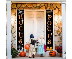 Whaline Hocus Pocus Halloween Banner Indoor Outdoor Deko Hängeschild für Home Office Haustür Veranda Willkommen Halloween Dekoration
