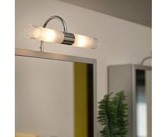 EGLO 85816 Spiegelleuchte Granada Eco-G9 aus Stahl mit satiniertem Glas, chrom