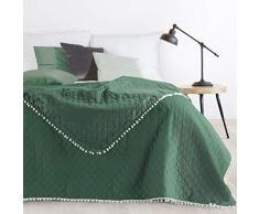 Design91 Tagesdecke Steppdecke Bettüberwurf Doppelseitig Gesteppt Muster mit Bommeln Pompon, Kunststoff, Grün, 220x240 cm