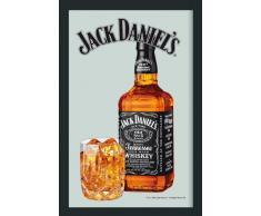 empireposter Jack Daniels Whiskey Flasche - Bedruckter Spiegel mit Kunststoff Rahmen in Holzoptik, Kult-Spiegel - Grösse 20x30 cm
