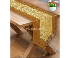 Stylo Culture Dekorativer Indien Tischdecke Gold Gelb Blumen Bohemien Jacquard Border Bestickt Tischläufer Zari Quaste 6 Fuß Für Mitteltabelle Brokat Tissue Stoff Party Tischplatte (35 x 182 cm)