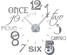 Graz Design 800054_silb_071 Wandtattoo Uhr Wanduhr Zahlen international modern NEU (Uhr Silber/Aufkleber Grau)