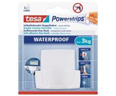 tesa Doppelhaken, wasserfest für Dusche und Bad, weiß, wieder ablösbar