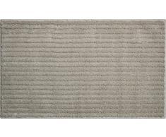 Grund 3D Badteppich 100% Polyester, ultra soft, rutschfest, ÖKO-TEX-zertifiziert, 5 Jahre Garantie, RIFFLE, Badematte 70x120 cm, mineralgrau