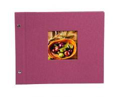 Goldbuch Schraubalbum, Bella Vista, Mit Fensterausschnitt für eigenes Bild, 30 x 25 cm, 40 weiße Seiten, Leinen, Fuchsia, 26808