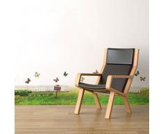 Walplus - Wandsticker Wand Aufkleber Dekoration Papier Kunst Realistisches Gras Schmetterlinge Wohnzimmer