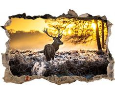 Pixxprint 3D_WD_S2688_92x62 prächtiger Hirsch im Wald Wanddurchbruch 3D Wandtattoo, Vinyl, bunt, 92 x 62 x 0,02 cm