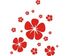 INDIGOS 4051095016694 Wandtattoo w191 Hibiskus, Retro 120 x 102 cm, rot