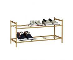 Relaxdays Schuhregal SANDRA mit 2 Ebenen, kleine Schuhablage aus Metall, HBT: ca. 33,5 x 69,5 x 26 cm, für 6 Paar Schuhe, mit Griffen, hellbraun