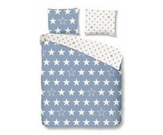 Good morning 5263-F 135cm bettwäsche weißen Sternen, Flanell, blau, 200 x 135 x 0.5 cm