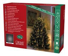 Konstsmide 6362-820 LED Lichterkette Baummantel / für Innen (IP20) / VDE geprüft / 24V Innentrafo / 250 bernsteinfarbene Dioden / dunkelgrünes Kabel
