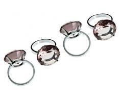 Premier Housewares Serviettenringe, 4er Set, rauchgrauer Diamante, verchromt