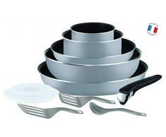 Tefal L21499 Ingenio Essential Pfannen- und Topf-Set, 11-teilig, antihaftversiegelt, Starterset, grau