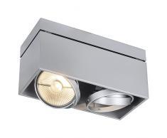 SLV LED Deckenlampe KARDAMOD für eine effektvolle Innenbeleuchtung | Dreh- und schwenkbare LED Deckenleuchte, Decken-Strahler, Spot Innenleuchte | Zweiflammig, Eckig, Silbergrau, GU10, max 75W, E -A++