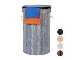 Relaxdays Wäschekorb Bambus, runder Wäschesammler mit Klappdeckel, 65 l, faltbare Wäschetonne, groß, rund Ø 40 cm, grau