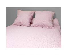 Soleil docre 373004 Tagesdecke Uni rosa 220x240 cm + 2 Kissenbezüge