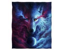 Dawhud Direct Fleecedecke 50 inches by 60 inches Himmlischer Wolf