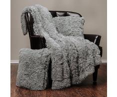 Chanasya Super Weichen Langen Shaggy Fuzzy Fell Webpelz warm elegant Cozy mit Flauschiger Sherpa Chic Überwurf Decke – Farbe Shaggy Kunstpelz, Polyester, grau, 1 50x65 Throw- 2 Pillow Cover Set