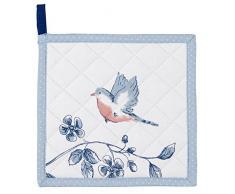 Clayre & Eef EBI45 Topflappen Küchen Baumwolle Vogel Blau