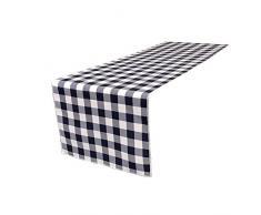 La-Bettwäsche mit kariert Tischläufer, Polyester, Marineblau/weiß, 35.56 x 274.32 x 0.04 cm