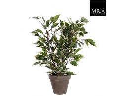 Mica decorations 930306-T Kunstblume -und Pflanze, Ficus Natasja Höhe 40 cm, Durchmesser 30 cm grün im Übertopf Stan D11.5 Terrakotta, grau / braun