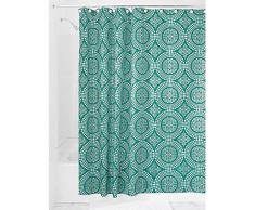 InterDesign Medallion Textil Duschvorhang | 183 cm x 183 cm Duschabtrennung für Badewanne und Duschwanne | Vorhang aus Stoff mit verstärkter Oberkante | Polyester aquamarin