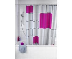 WENKO 20056100 Anti-Schimmel Duschvorhang Abstract - Anti-Bakteriell, waschbar, mit 12 Duschvorhangringen, 100 % Polyester, Mehrfarbig