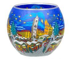 Himmlische Düfte Geschenkartikel CC250 Tischdekoration, Christmas Market Windlicht Glas 11 x 11 x 9 cm, bunt