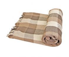 Just Contempo Weiches, 100%Baumwolle, Kariert, Überwurf, Decke/Überwurf, Sofa, Bett, Tropen-Design, 100% Baumwolle, Natural (Cream Ivory beige Brown, Single 178cm x 254cm (70x102)