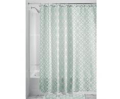 InterDesign Trellis Textil Duschvorhang   Duschabtrennung für Badewanne und Duschwanne mit Spalier-Motiv   183 cm x 183 cm Vorhang aus Stoff   Polyester mint