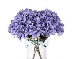Louiesya Künstliche Blumen Hortensien mit 5 großen Köpfen Kunstblumen Strauß Blumenstrauß für Zuhause Hochzeit Party Dekoration DIY violett
