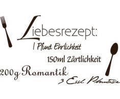 Graz Design 720135_57_080 Wandtattoo Spruch Zitat Liebesrezept Deko fr Kche Wanddeko fr Schlafzimmer Wandgestaltung 100x57cm Braun
