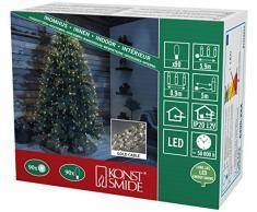 Konstsmide 6390-180 LED Lichterkette Diamantenlametta / für Innen (IP20) / VDE geprüft / 12V Innentrafo / 90 warm weiße Dioden / goldfarbener Draht