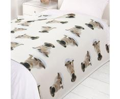 Dreamscene Warm Weiches Welpe Mops Hund Deko Fleece �berwurf �ber Bett Sofa Decke 120�x 150�cm