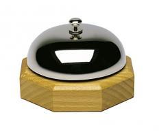 Westmark 63202250 Tisch- und Kellnerglocke, Metall hochglanzverchromt / Buchenholz, edelstahl silber / holz, 9.1 x 9.1 x 5.8 cm
