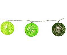 Best Season Lichterkette Jolly Lights, 10-teilig grüne Sisalbälle, circa 1,35 m Länge mit TrafoVierfarb-Karton, warmweiß 457-11