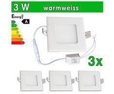 LEDVero 3x Ultraslim LED Panel SMD 2835, 3 W, eckig Deckenleuchte Lampe Einbau Leuchte Licht Strahler, warmweiß SP137