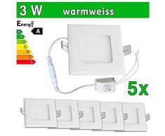 LEDVero 5x Ultraslim LED Panel SMD 2835, 3 W, eckig Deckenleuchte Lampe Einbau Leuchte Licht Strahler, warmweiß SP139