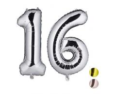 Relaxdays Folienballon Zahl 16, Party Deko, Geburtstag, Ballon für Luft & Helium, XXL Zahlenluftballon 85-100cm, Silber