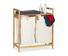 Relaxdays Wäschekorb Bambus, Wäschesortierer mit Ablage, 2 Fächer, ausziehbar, tragbarer Wäschebehälter, 60 Liter, Natur, 1 Stück