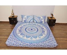 indischen blau weiß Urban Azteken Outfitters Wandteppich Mandala Überwurf Tagesdecke Gypsy, Boho Queen Doppelbett Doona & 2 Kissen Fall Set 100% Baumwolle 233,7 x 213,4 cm.