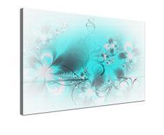LANA KK - Blütentraum Light Türkis - edel Leinwand Bild Kunstdruck auf Keilrahmen, fertig gerahmt in 100x70 cm, einteilig