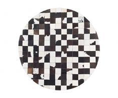 Runder Teppich Patchwork Echtleder schwarz/weiß Bergama