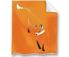Loong Design Faultier-Überwurf, super weich, flauschig, Premium Sherpa-Fleece-Decke, 127 x 152 cm, für Sofa, Stuhl, Bett, Büro, Reisen, Camping, Geschenk 50x 60 Fuchs